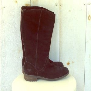 UGGs Seldon Black Suede Tall Warm Heeled Boots